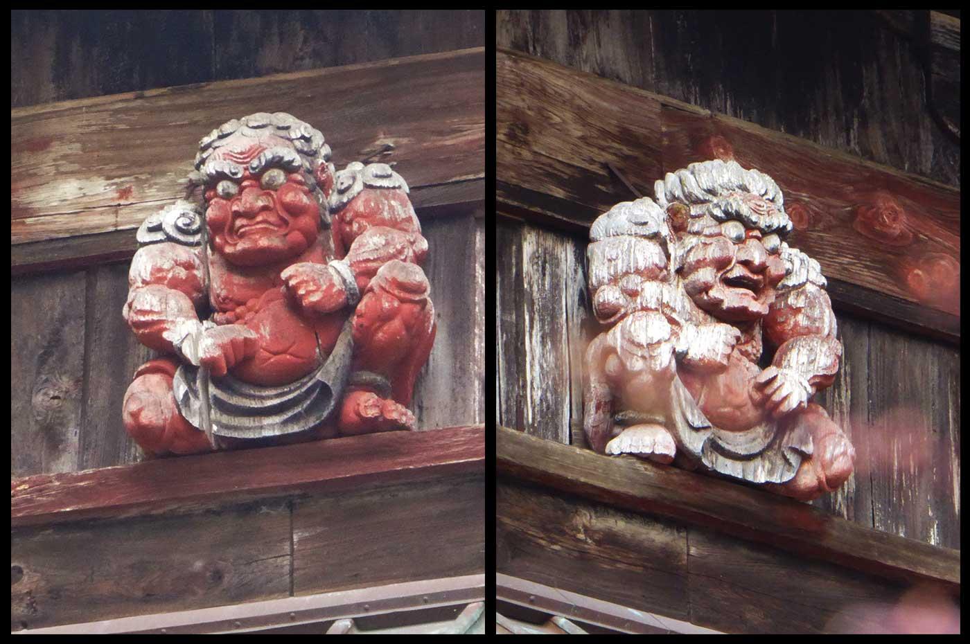 本堂向拝の金剛力士像の彫刻