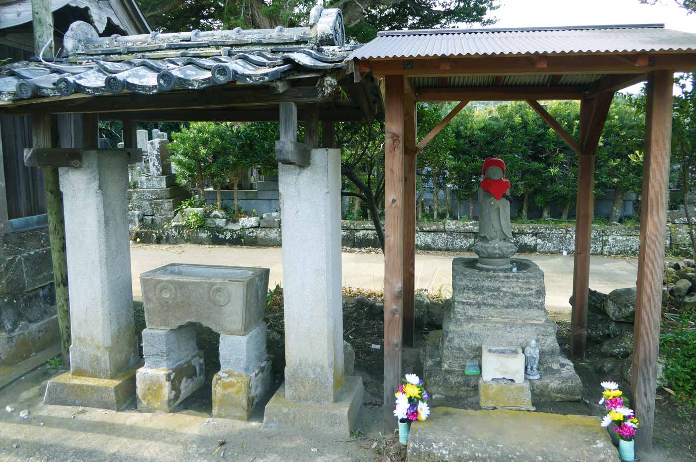 釈迦寺の手水石の画像