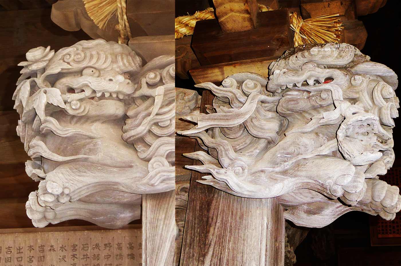 熊野神社 獅子の彫刻