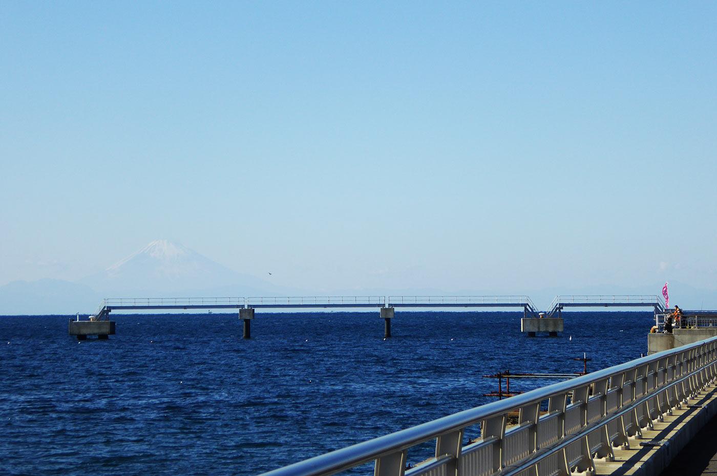 館山夕日桟橋から見た富士山