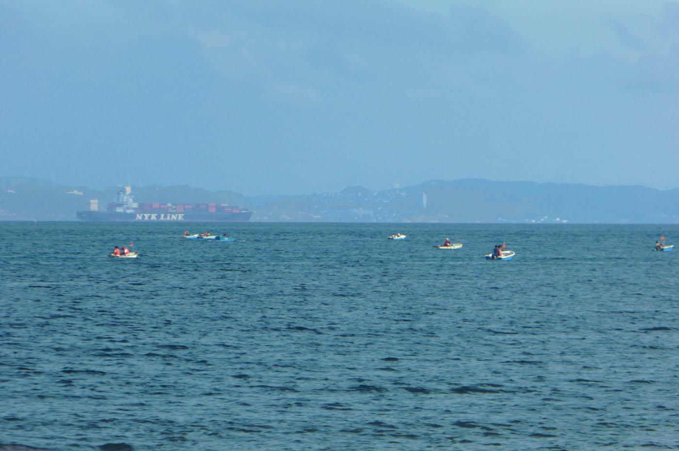 多田良北浜海水浴場 ボート釣りの風景