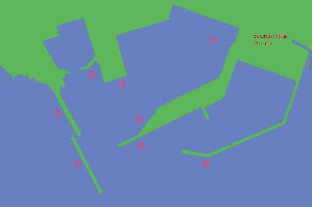 船形港の釣り場マップ