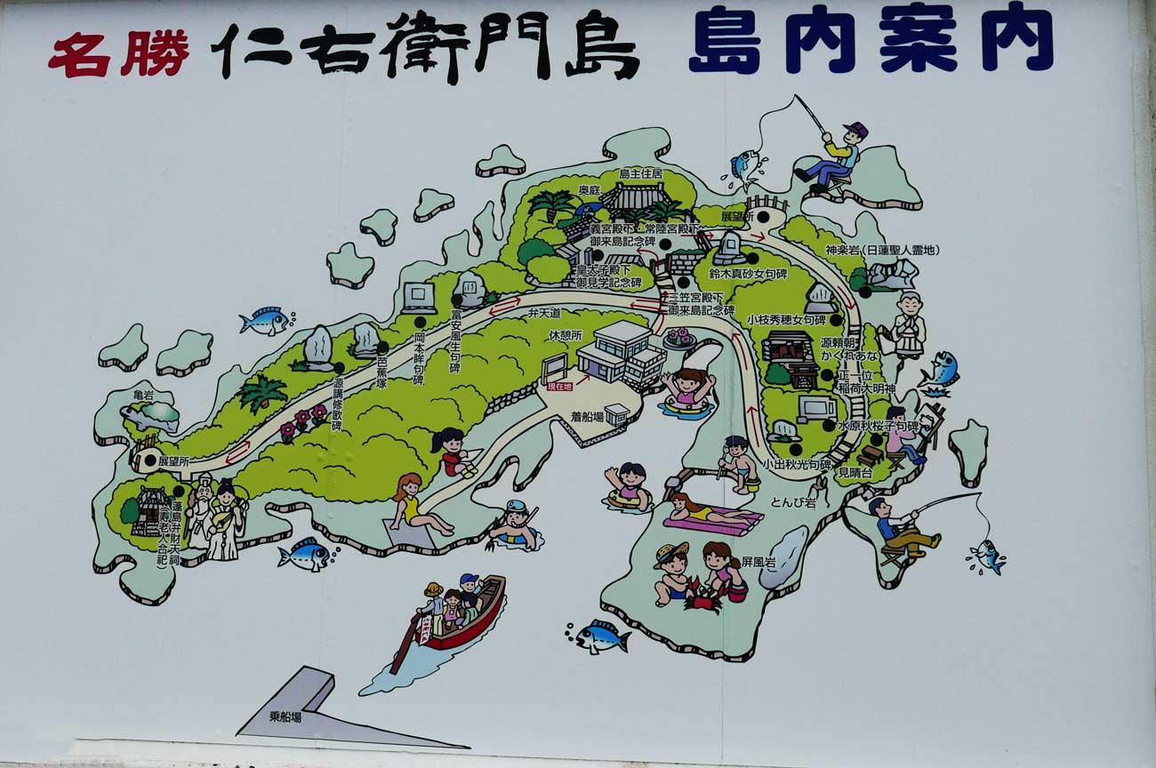仁右衛門島の案内図の画像