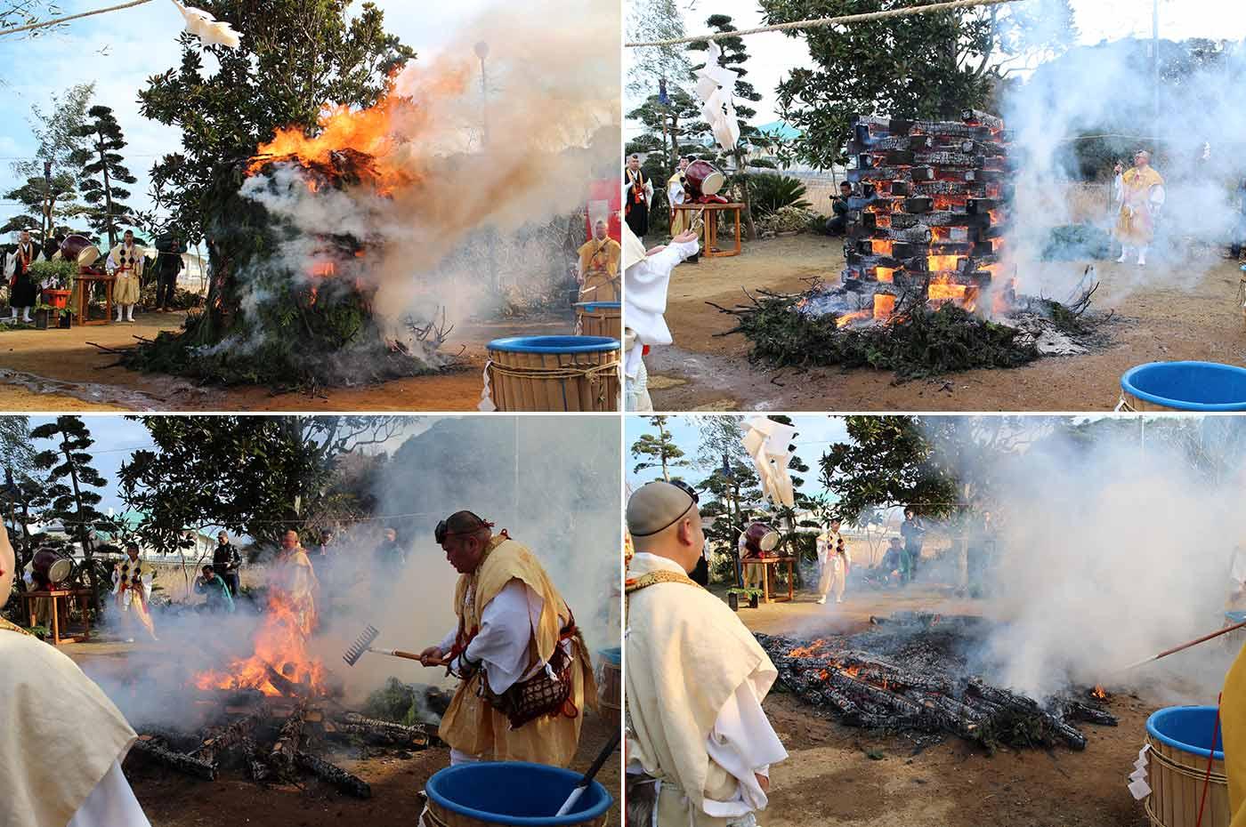 南房総家族時間 護摩の炉を崩し火渡り準備