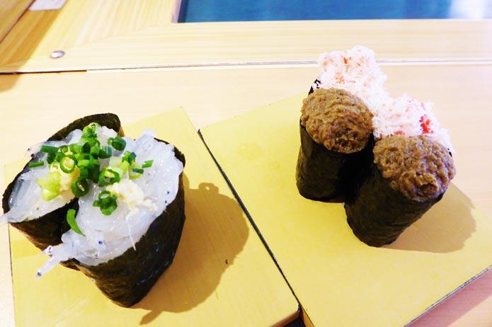 白魚とカニ味噌の軍艦の写真