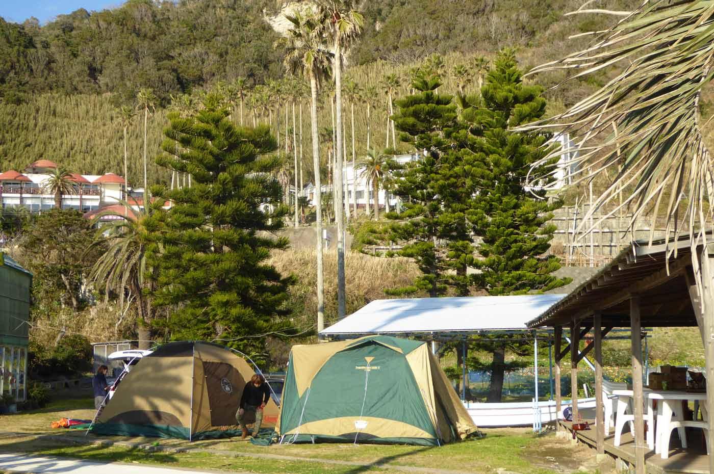 白浜フラワーパークのキャンプ風景
