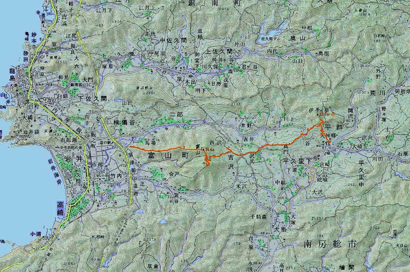 伊予ヶ岳の地図