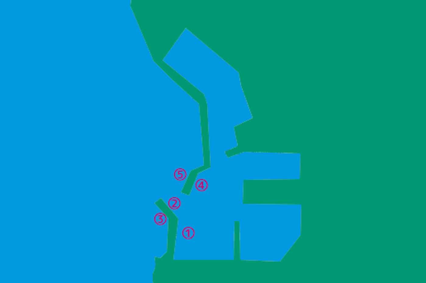勝山港のポイント図