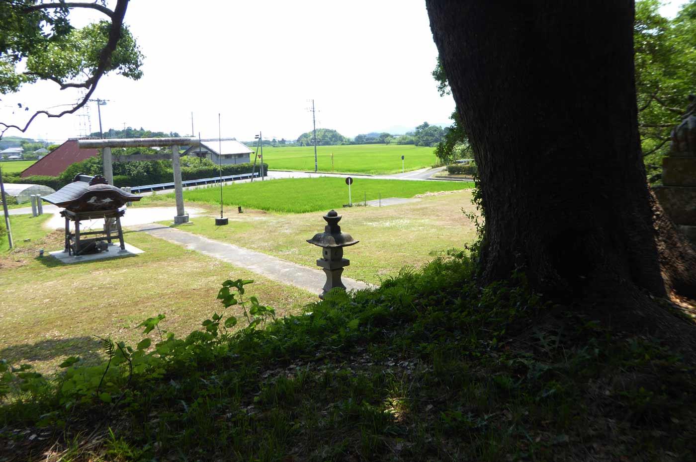 愛宕神社の境内を拝殿から撮影