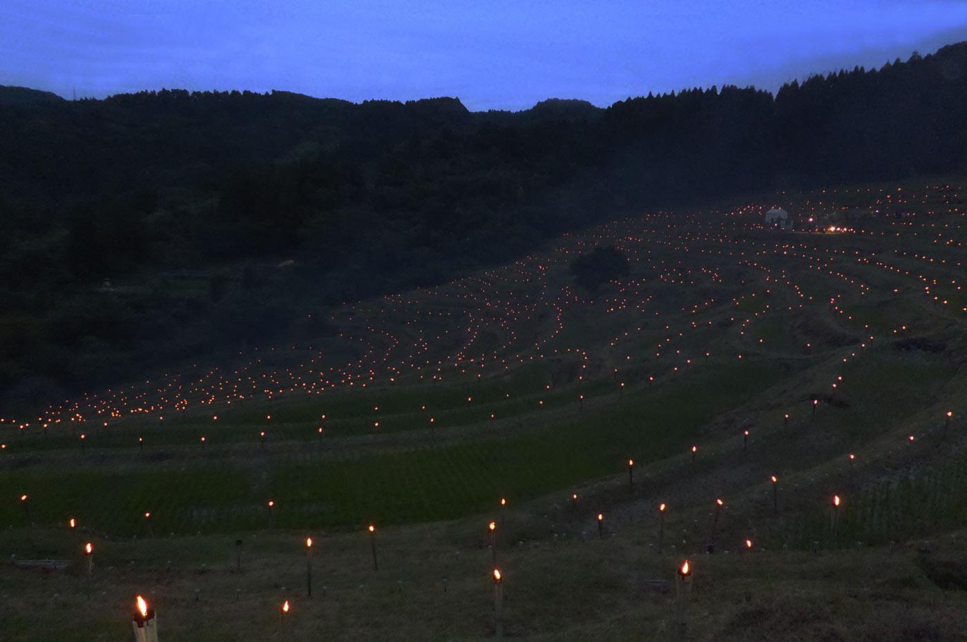夕暮れの棚田の画像