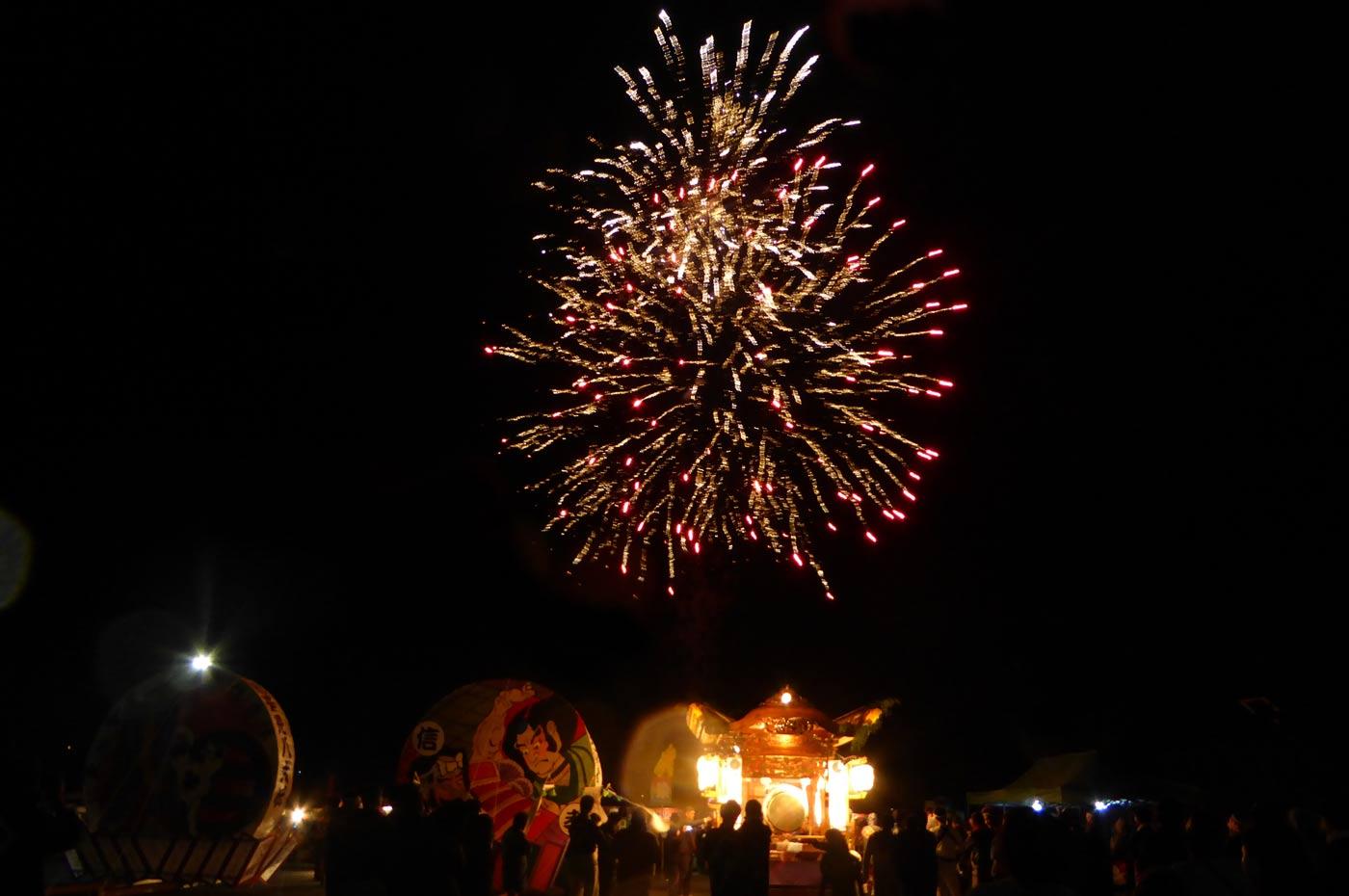 みよしの夜祭りの打ち上げ花火