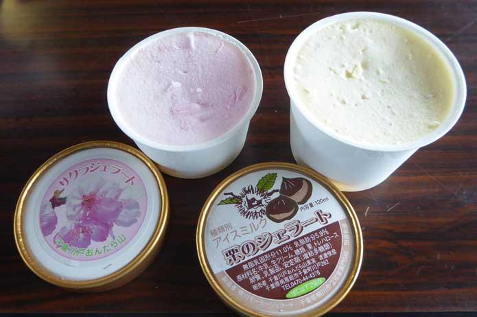 さくらのアイスと栗のアイス