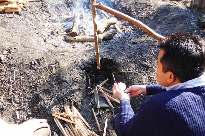 火おこし体験の画像