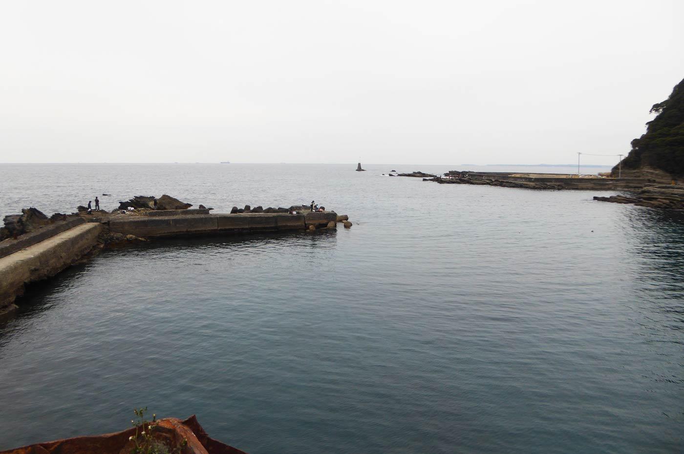 港左側の堤防のポイント