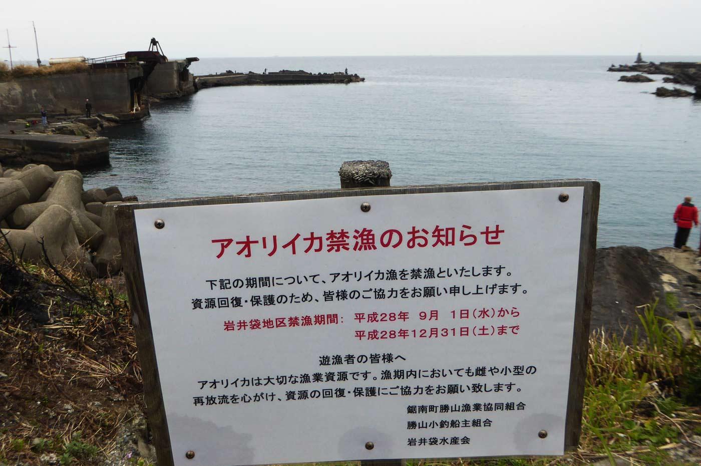 アオリイカ禁漁期間の看板