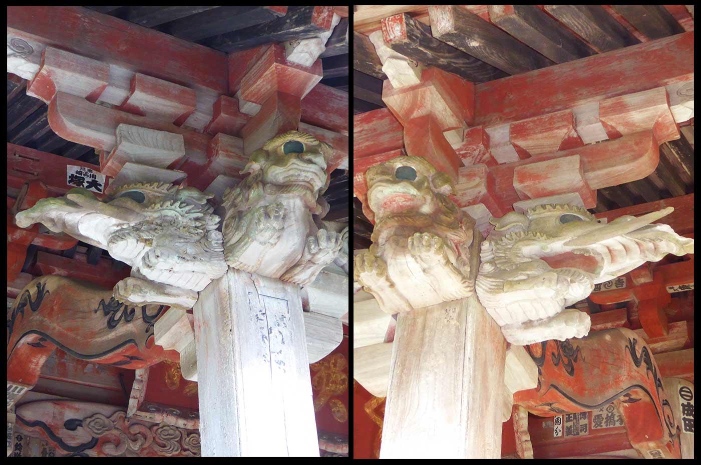 観音堂向拝の彫刻