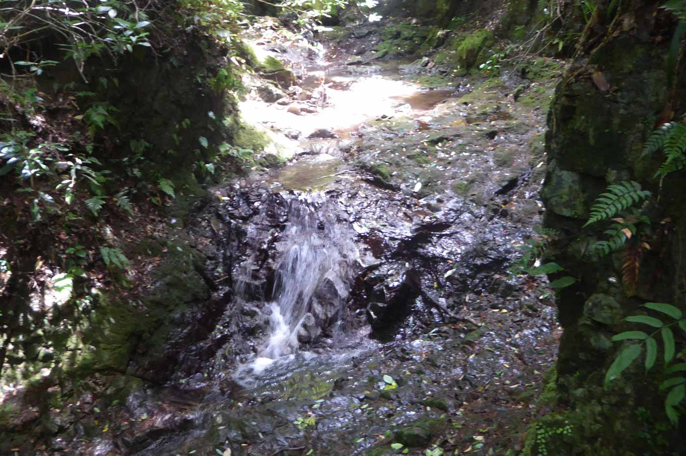 東屋下の小さな滝3