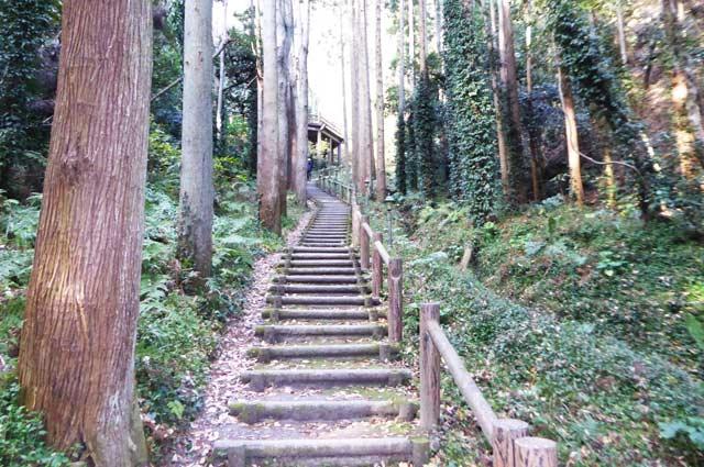 伏姫籠穴への階段の画像