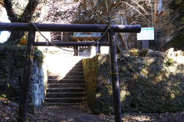 厳島神社の鳥居と境内の画像