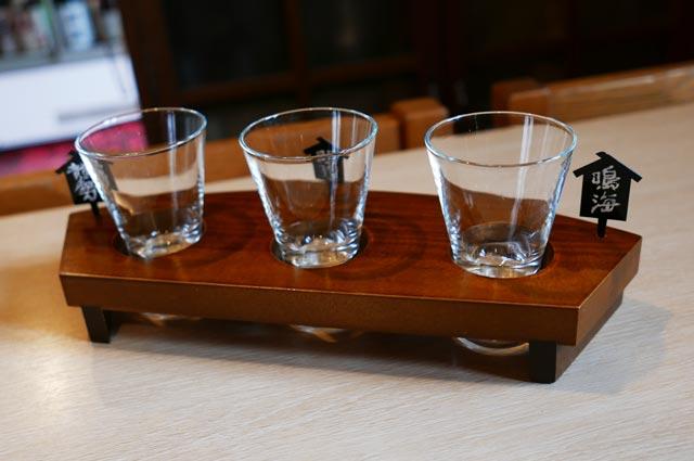 きよ都の三種の利き酒のグラス画像