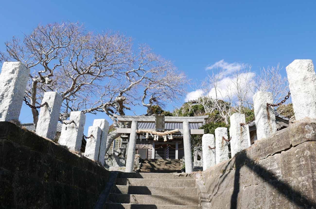 浅間神社の鳥居と拝殿の画像