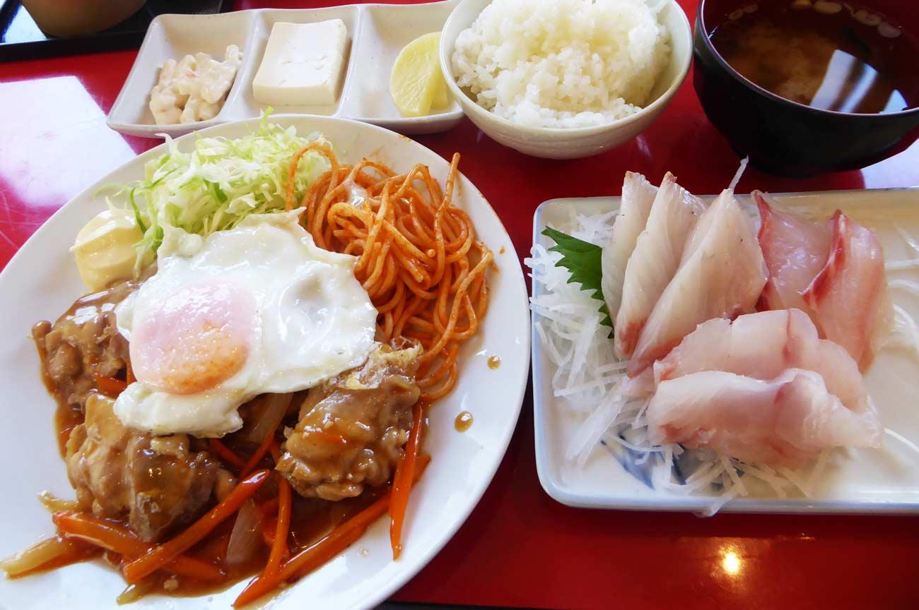 館山食堂のチキン南蛮(刺身付き)の画像