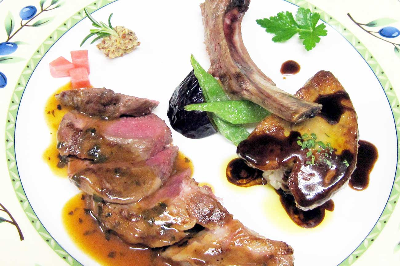 レストラン大澤の骨付き仔羊の網焼きフォアグラ添えの画像