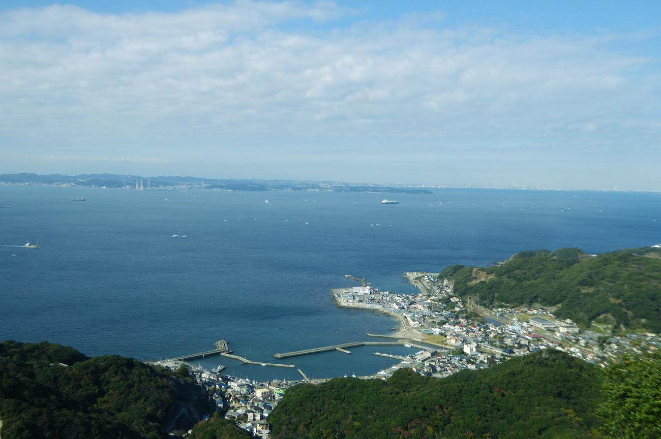 山頂から金谷港を望む