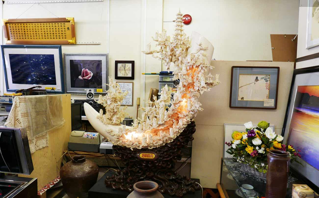 水牛骨南海観音の彫刻の画像