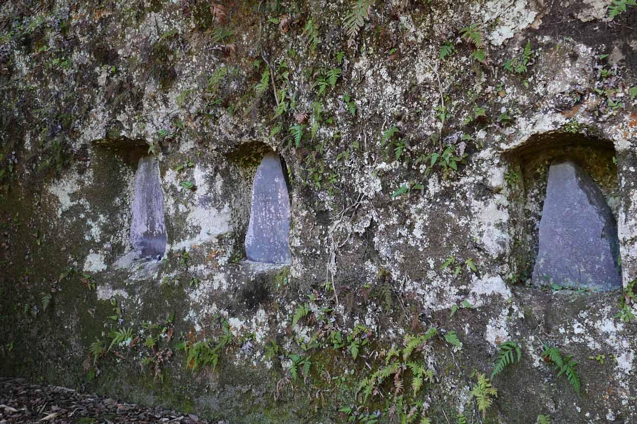 拝殿右側の崖のアップ画像