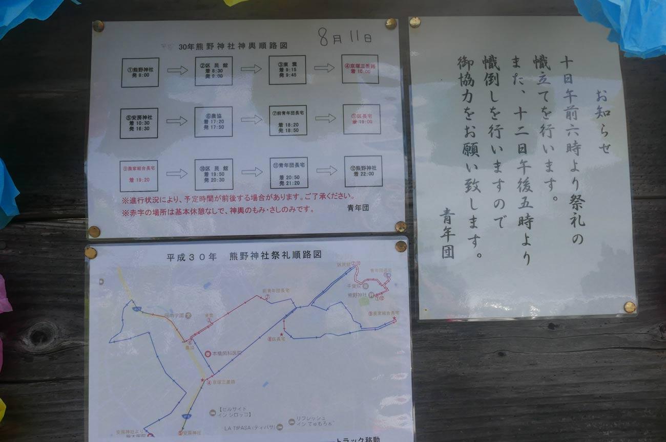 熊野神社の祭のスケジュール表画像