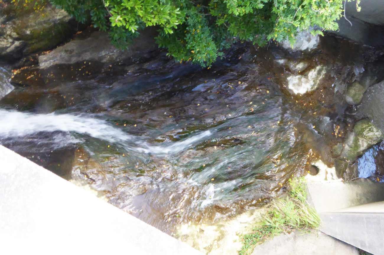 腰廻橋の下の滝のアップ画像