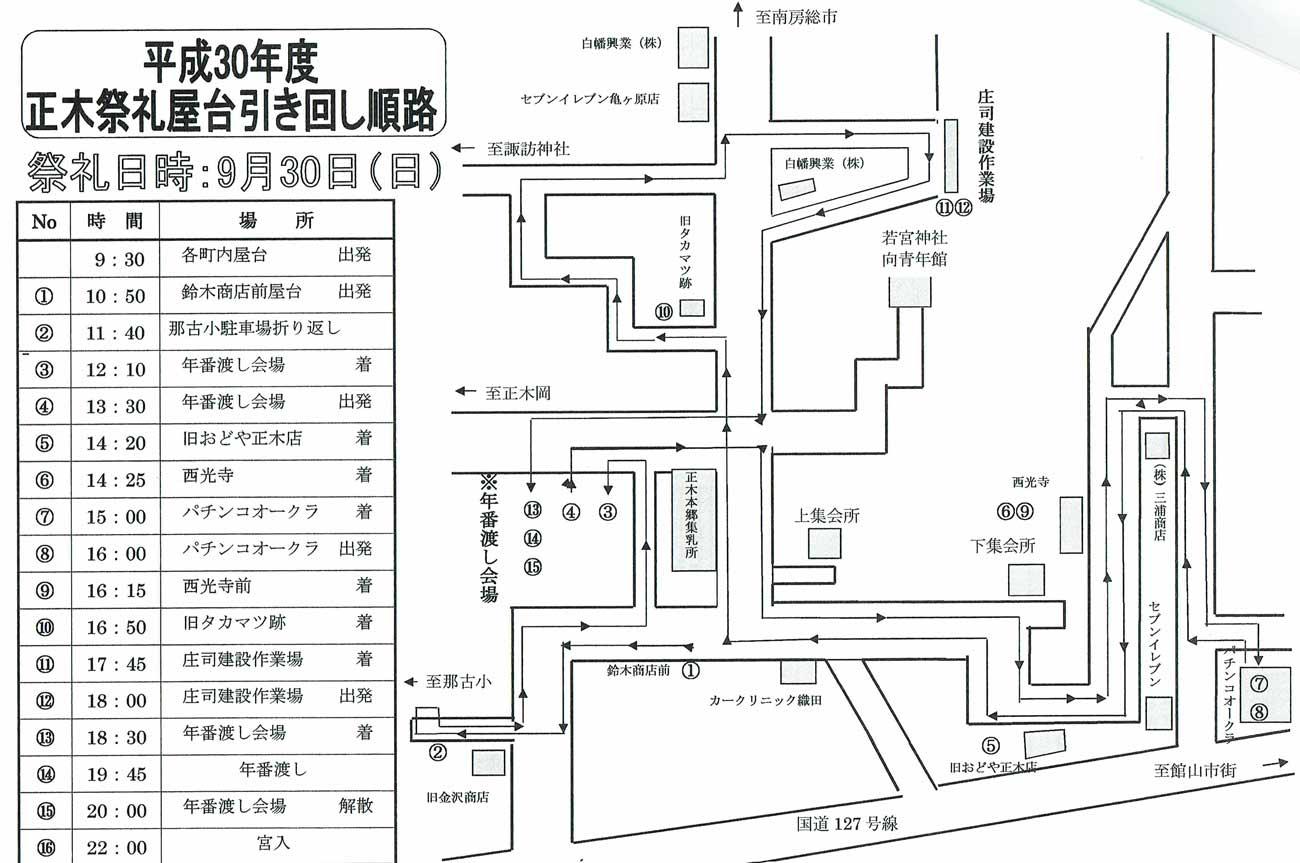 2018年9月30日正木祭礼スケジュールの画像