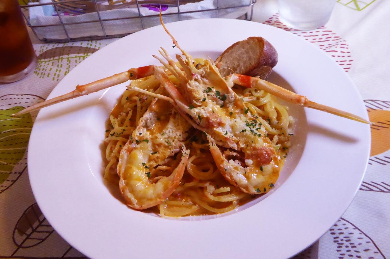手長エビのトマトクリームスパゲティの画像