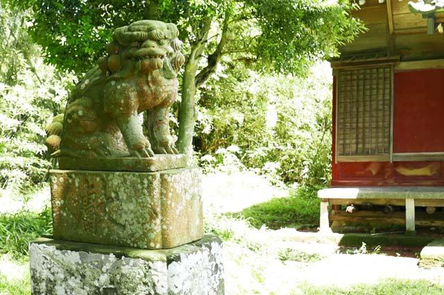 神明神社の狛犬(左)の画像