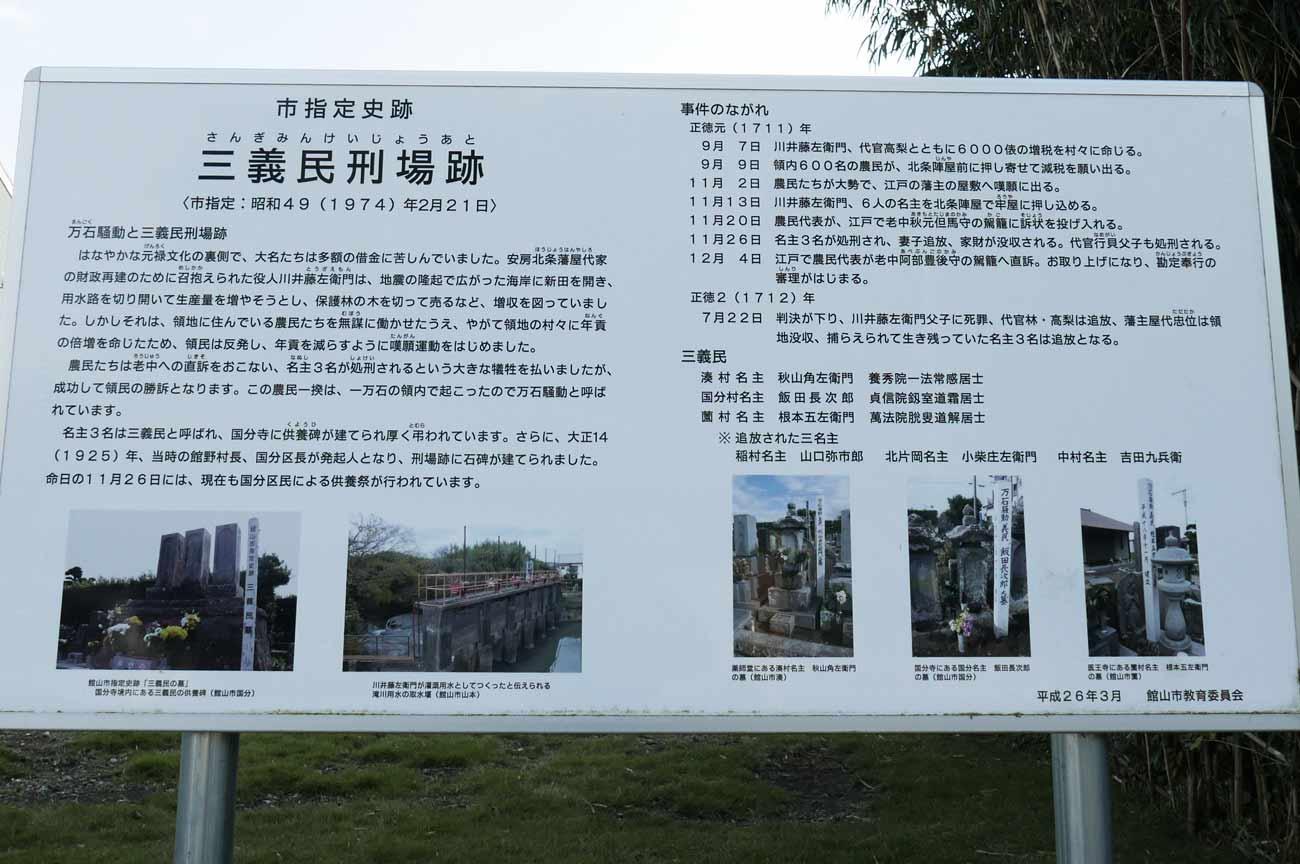 三義民刑場跡の案内板の画像