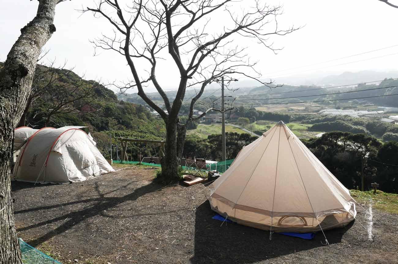 見晴らしの良いキャンプ区画