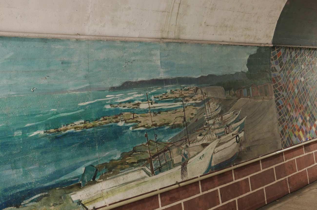 鴨川市の漁村の風景画