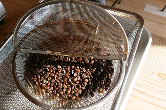 焙煎が終わった豆の画像