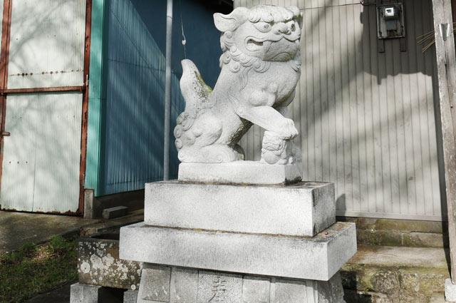 本織神社の狛犬(左)の画像