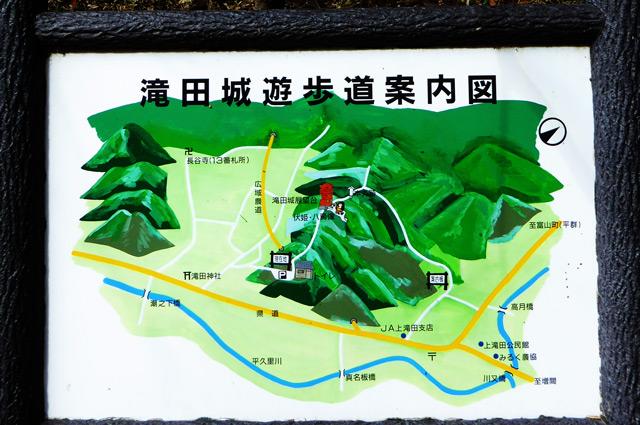 滝田城遊歩道案内図