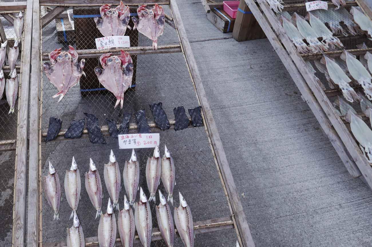 金目鯛、鯨、カマスの干物