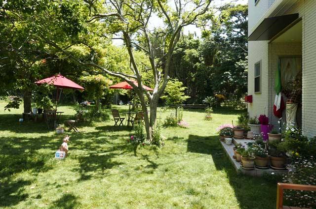 カフェアルバの入口付近の庭