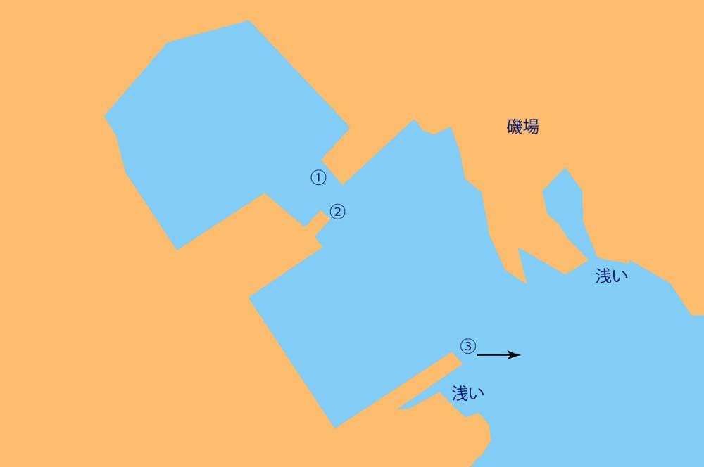 平磯港の釣りポイント図