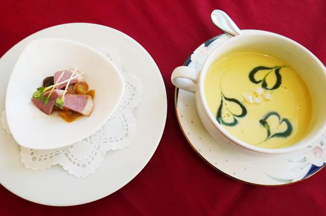 レディースランチの前菜とスープ