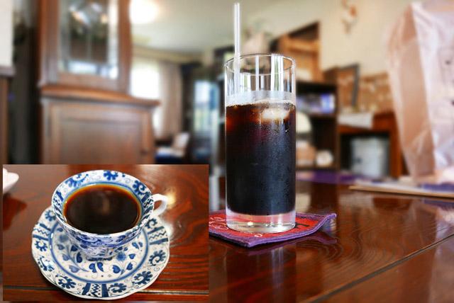 ホットコーヒーとアイスコーヒーの画像