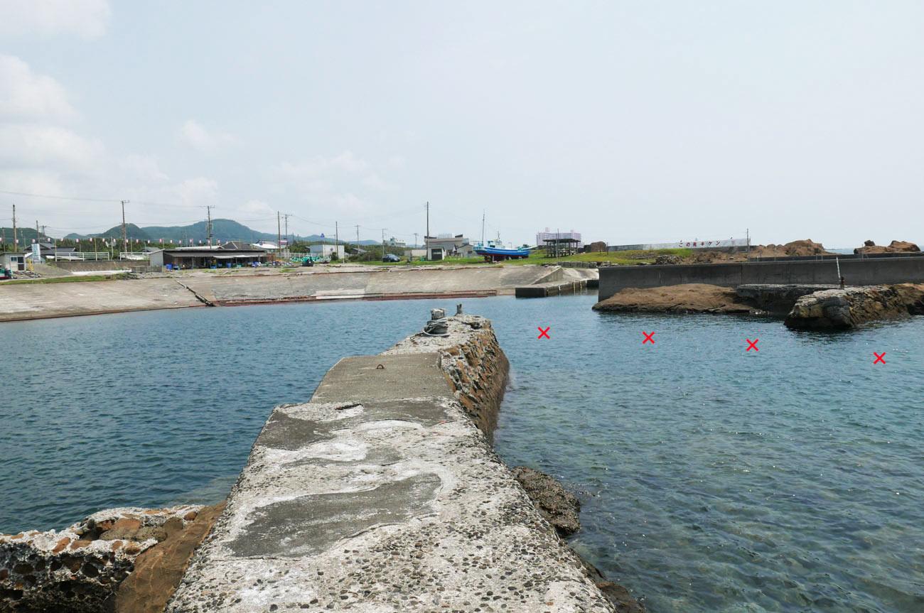 川下港の突堤付近のポイント