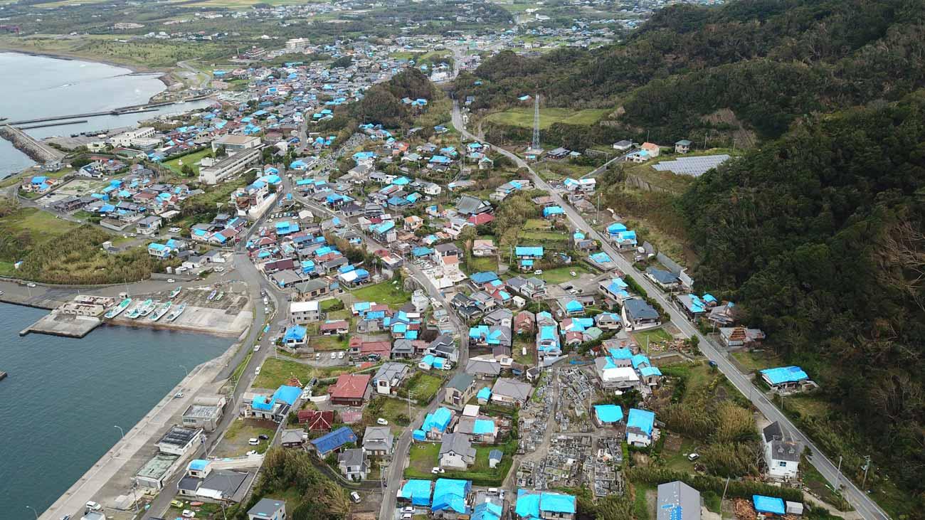 館山市布良地区の被害状況(空撮)
