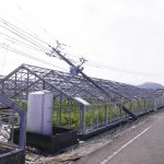 電柱の倒れたカーネーション団地