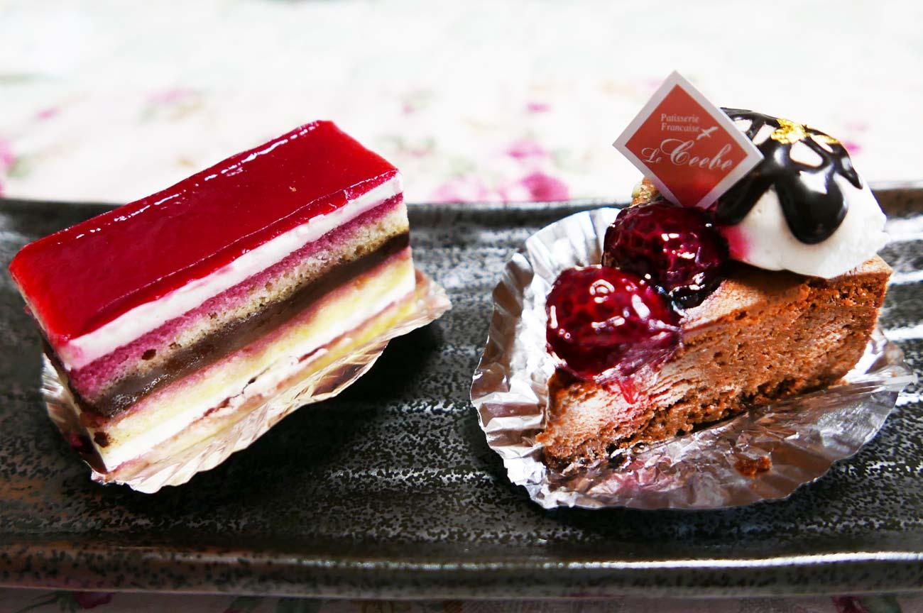 ガトーフランボワとチョコレートスフレ